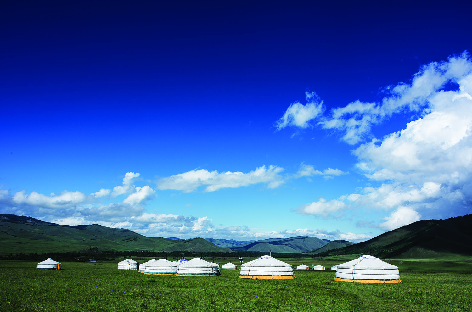 yurts in remote mongolian wilderness on yoga and meditation retreat
