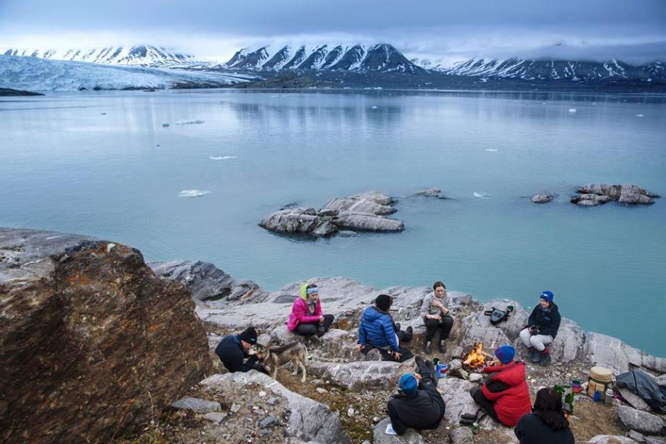 svalbard scenery at the top of mountain climb on yoga retreat adventure