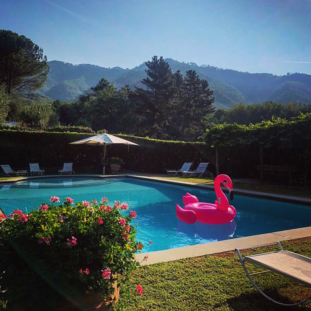 flamingo inflatable in pool in tuscany on yoga retreat